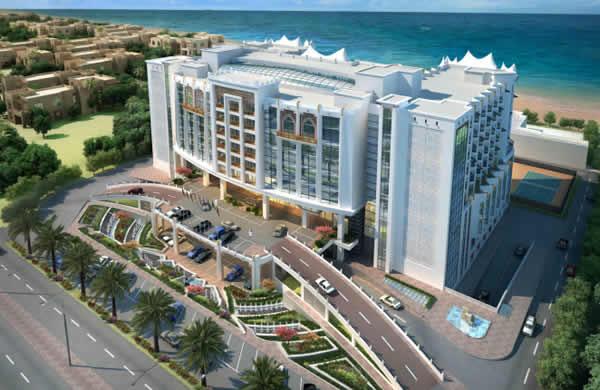 中铁十八局集团国际公司迪拜公司卡塔尔分公司承建的2022年世界杯足球赛配套设施项目——绿洲酒店效果图(伍振 杨国辉 摄)